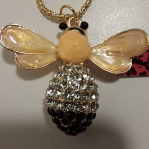 Betsey Johnson bumble bee necklace, new